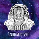 Astronaute animal Monkey, babouin, chien-singe, fond de port de l'espace de galaxie de costume d'espace de singe avec des étoiles Photo libre de droits