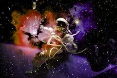 Astronaute au spacewalk Beaut? d'espace lointain images libres de droits