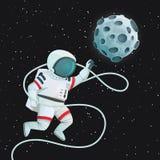 Astronaute avec le vol de longe avec une atteinte tendue par main pour la lune illustration stock