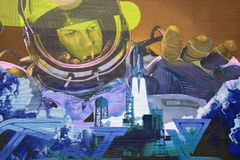 Astronaute d'art de rue Image stock