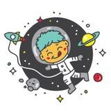 Astronaute d'enfant dans l'espace Images libres de droits