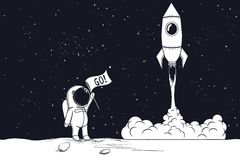 Astronaute d'esprit de lancement de Rocket illustration stock