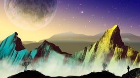 Astronaute d'explorateur dans le paysage de la science fiction avec la planète et les montagnes illustration de vecteur