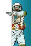 Astronaute d'homme Point pour copier l'affiche de l'espace photographie stock libre de droits
