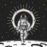 astronaute d'astronaute La lune met des planètes en phase dans le système solaire l'espace astronomique de galaxie le cosmonaute  illustration stock
