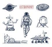 astronaute d'astronaute Planètes dans le système solaire galaxie astronomique le cosmonaute explorent l'aventure Gravé tiré par l illustration stock