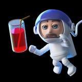 Astronaute dans 3d flottant dans l'espace et atteignant pour un verre de jus illustration de vecteur