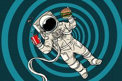 Astronaute dans l'apesanteur avec les aliments de préparation rapide illustration libre de droits