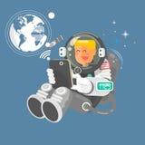Astronaute dans l'espace extra-atmosphérique utilisant un ordinateur portable Photos stock