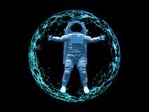 Astronaute dans la sphère polygonale Concept futuriste Illustration de vecteur