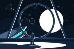 Astronaute de combinaison spatiale dans le vaisseau spatial regardant la lune illustration libre de droits