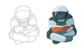 Astronaute de flottement de bande dessinée lisant un livre dans l'espace d'isolement sur le fond blanc illustration de vecteur