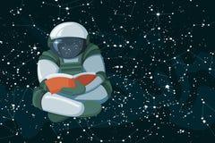 Astronaute de flottement de bande dessinée lisant un livre sur le fond coloed parespace illustration de vecteur
