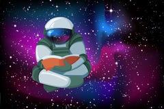 Astronaute de flottement de bande dessinée lisant un livre sur le fond doux de ciel nocturne de lueur illustration stock