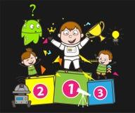 Astronaute de gagnant de bande dessinée avec les enfants heureux appréciant l'illustration de vecteur illustration libre de droits