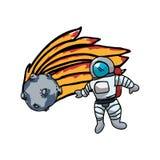 Astronaute de l'espace avec la comète illustration stock