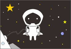 Astronaute de robot de bande dessinée Photos stock