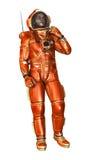 astronaute du rendu 3D sur le blanc Photographie stock