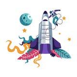 Astronaute et exploration de fusée et de cosmos de vaisseau spatial de l'homme illustration de vecteur
