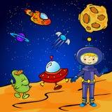Astronaute et monstre de l'espace près de la fusée Photographie stock