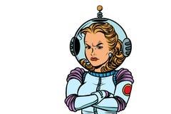 Astronaute fâchée de femme sur le fond blanc illustration libre de droits