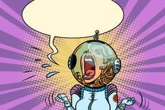 Astronaute fâchée drôle de femme Photos libres de droits