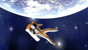 Astronaute flottant au-dessus de la terre illustration stock