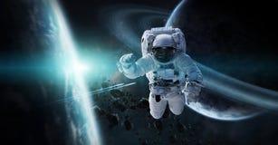 Astronaute flottant dans des éléments de rendu de l'espace 3D de cette image Photo libre de droits