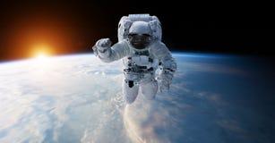 Astronaute flottant dans des éléments de rendu de l'espace 3D de cette image Image stock