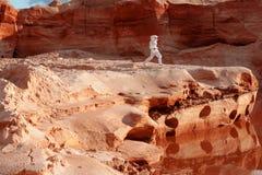 Astronaute futuriste sur une autre planète, image avec l'effet de la tonalité Images stock
