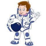 Astronaute mignon de garçon de bande dessinée Images libres de droits