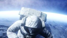 Astronaute mort de zombi dans l'espace cadavre Animation 4K réaliste illustration stock