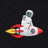 Astronaute s'asseyant à cheval sur le bateau de fusée donnant des pouces vers le haut de geste illustration stock