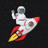 Astronaute s'asseyant à cheval sur le bateau de fusée ondulant une main et touchant le bateau avec l'autre illustration libre de droits