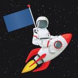 Astronaute s'asseyant à cheval sur le bateau de fusée tenant le drapeau avec la main droite et touchant le bateau avec l'autre ma