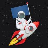 Astronaute s'asseyant à cheval sur le bateau de fusée tenant le drapeau avec la main gauche et touchant le bateau avec l'autre ma