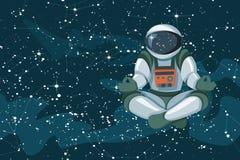 Astronaute s'asseyant en position de lotus, méditant, flottement de détente dans l'espace illustration libre de droits
