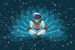 Astronaute s'asseyant en position de lotus, méditant, flottement de détente dans l'espace illustration stock