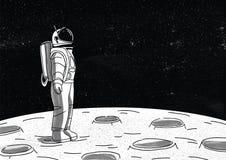 Astronaute seul dans la combinaison spatiale se tenant sur la surface de la lune et regardant l'espace complètement des étoiles P illustration stock