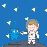 Astronaute Showing Hand de bande dessinée à une illustration étrangère de vecteur illustration stock