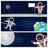 Astronaute Spaceman Horizontal Banners illustration de vecteur
