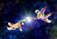 Astronaute sur l'espace extra-atmosphérique image stock