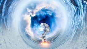Astronaute sur le conseil de vol Media mélangé illustration de vecteur