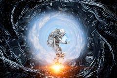 Astronaute sur le conseil de vol Media mélangé illustration libre de droits
