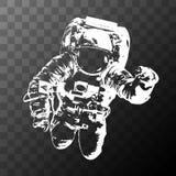 Astronaute sur le fond transparent - éléments de cette image meublés par la NASA Images stock