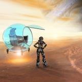 Astronaute sur une lune de Jupiter photos libres de droits