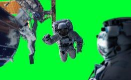 Astronaute travaillant aux éléments d'un rendu de la station spatiale 3D du Th Image stock