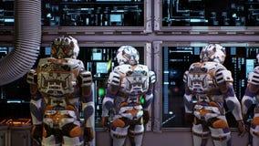 Astronauten dichtbij het dashboard van het ruimtevaartuig Super realistisch concept het 3d teruggeven vector illustratie