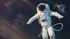 Astronauten, jord, satellit Royaltyfri Fotografi