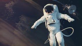 Astronauten, jord, satellit Arkivbilder